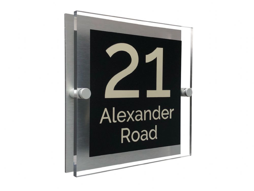 Block Shape - Clear Acrylic House Sign - Black Colour with Double Cream text in Font  4